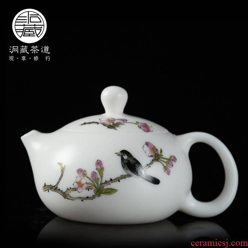 Kung fu tea set in floor jade porcelain ceramic mini small teapot single pot of dehua white porcelain hand - made teapot