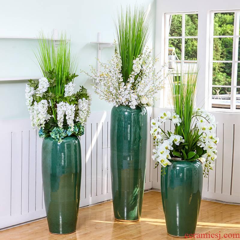 Jingdezhen new Chinese rural landing big vase hotel villa arranging flowers flowers sitting room ground flower art