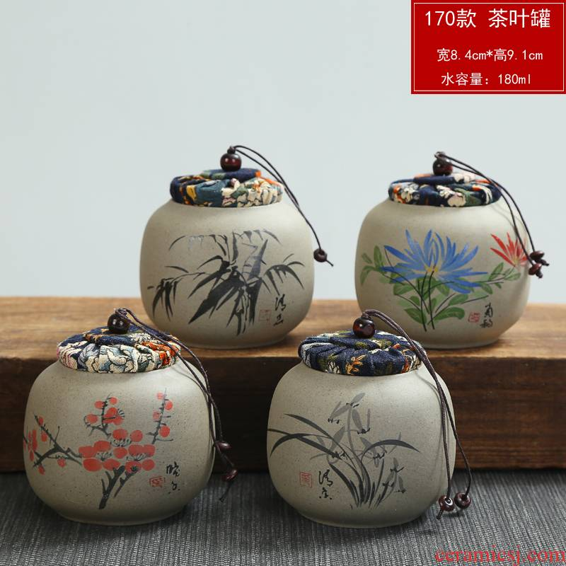 Coarse pottery violet arenaceous caddy fixings size small seal pot pu 'er wake receives storage tanks of household ceramic POTS gift box