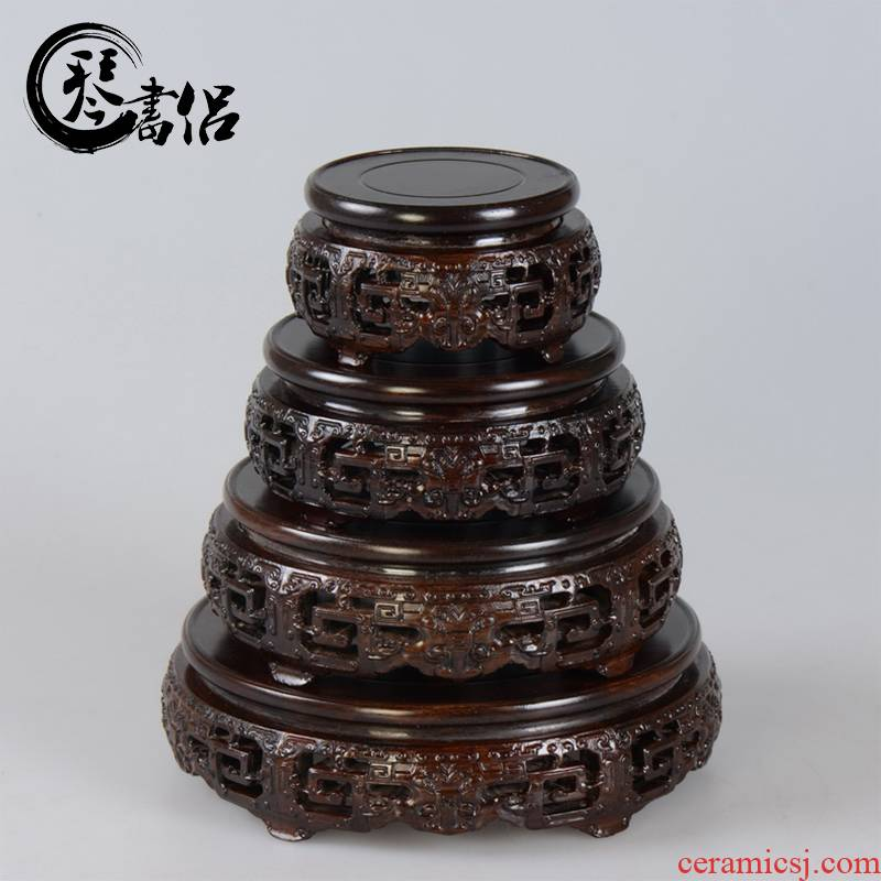 Red solid wood carving crafts porcelain vases round base tank miniascape seal wooden wooden pallet