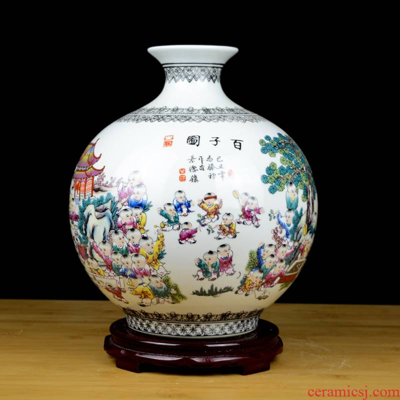 Jingdezhen ceramics powder enamel archaize figure vase large sitting room of Chinese style restoring ancient ways is the ancient philosophers home furnishing articles
