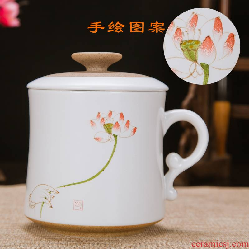 Jingdezhen ceramic cups with cover filter glass tea set personal office tea cup of water glass hand - made cup cup