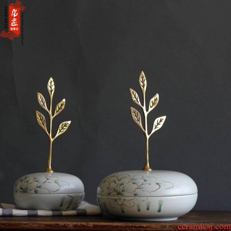 Jingdezhen ceramic decoration decoration material of new Chinese style living room is placed between the household act the role ofing is tasted the metal accessories to decorate