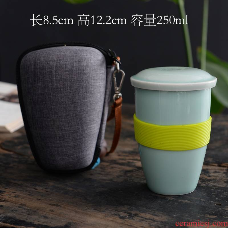 Individual cup celadon make tea cup contracted creative ceramic keller cup cup with a cup of tea water follow cup