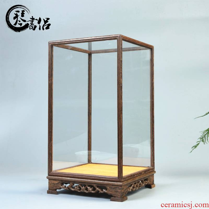 Pianology picking annatto handicraft glass dust cover chicken wings wood cage treasure crafts niches that cover figure of Buddha base