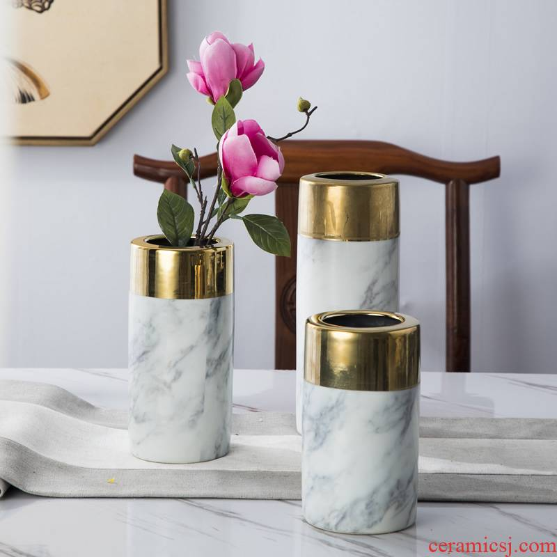 Nordic furnishing articles metal ceramic vase marble table dry flower flower arranging flower implement sitting room household soft adornment