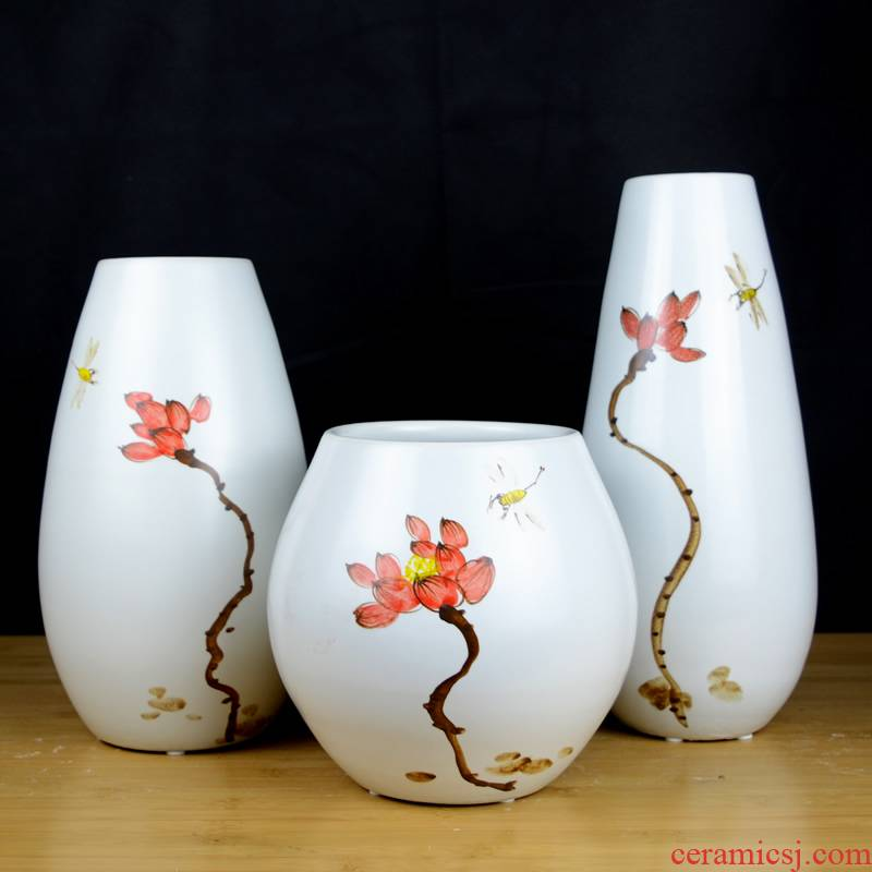 Jingdezhen ceramic hand - made vases, dried flowers, flower arrangement sitting room TV ark of new Chinese style household adornment handicraft furnishing articles
