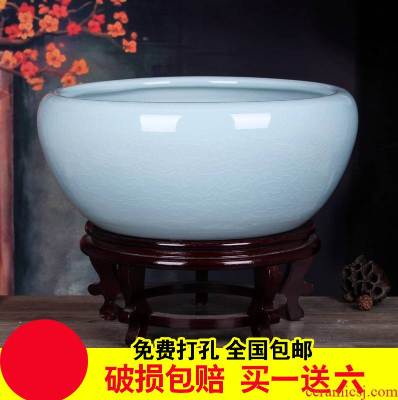 Creative ceramic goldfish bowl basin of ice to crack the tortoise cylinder water lily bowl lotus tea table flowerpot porcelain basin refers to water tank