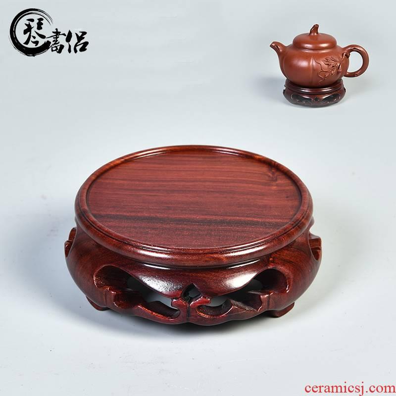 Red wingceltis solid wood base it base circular base of the vase flower miniascape of Buddha base tank base