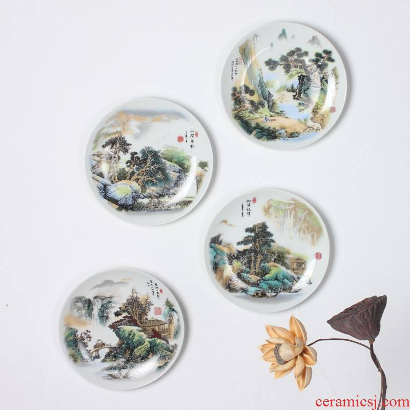Jingdezhen decorative hanging dish wall act the role of ceramic wall act the role ofing sitting room background wall combination pendant decorative landscape is hanged on the wall