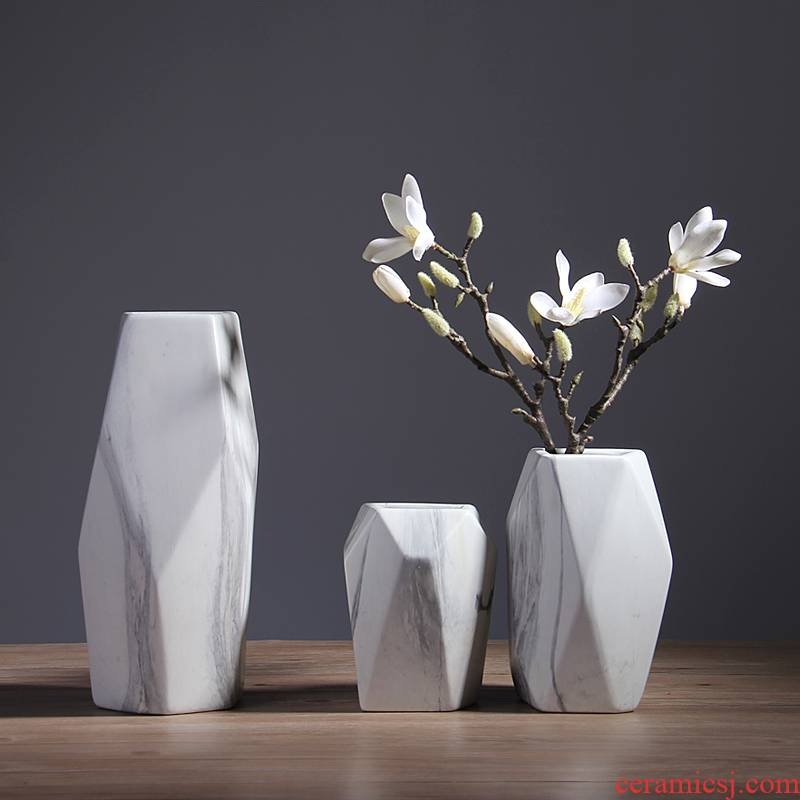 Contracted the Nordic style marble ceramic vases, small pure and fresh and dry flower arranging flowers sitting room adornment household furnishing articles