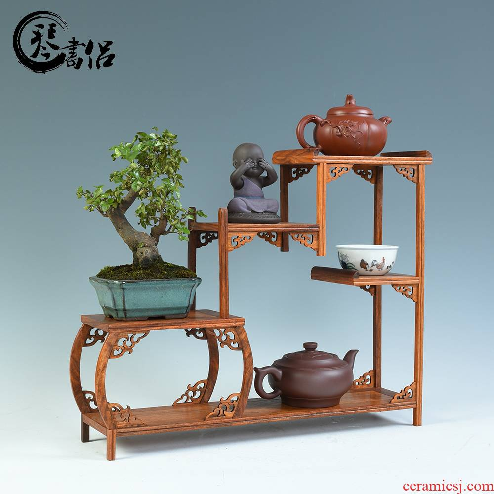 Redwood base it small rich ancient frame curio cabinet cabinet base solid wood furnishing articles miniature rich ancient frame tea shelf