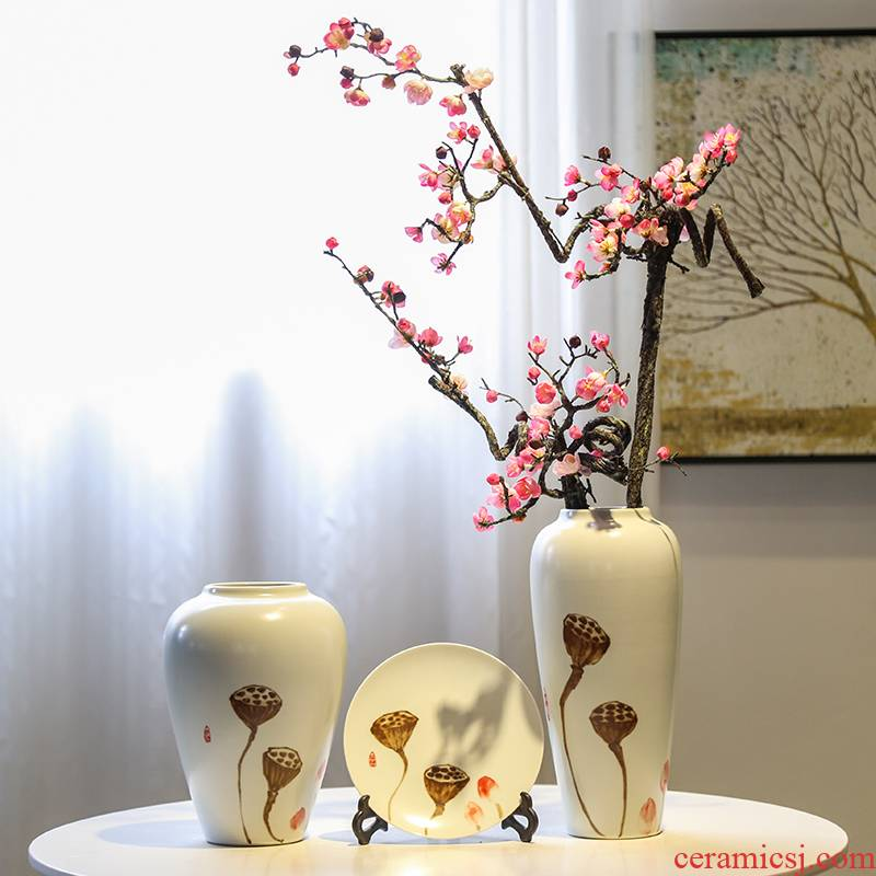 Jingdezhen mesa of new Chinese style vase of TV ark, wine porch rich ancient frame decoration decorative ceramic flower implement furnishing articles