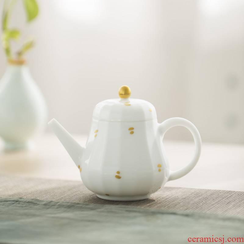 Jingdezhen sweet white glazed see manual kung fu tea pot single pot of gold household kung fu little teapot tea utensils