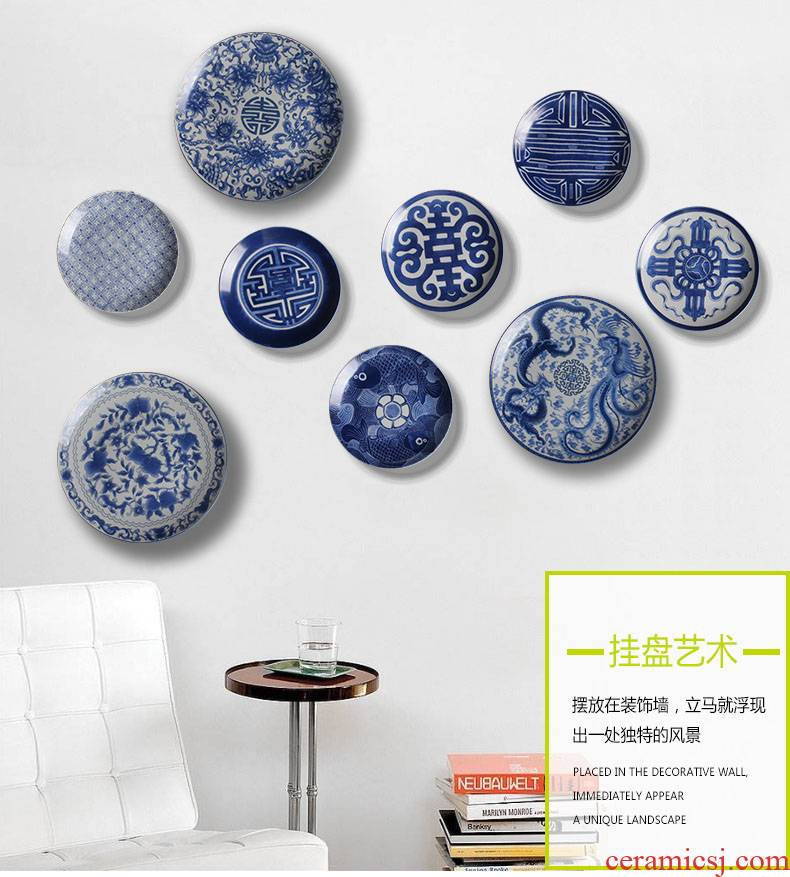 Amorous feelings of blue and white decoration hanging dish wall act the role of ceramic wall act the role ofing sitting room background wall combination pendant ornaments on the wall