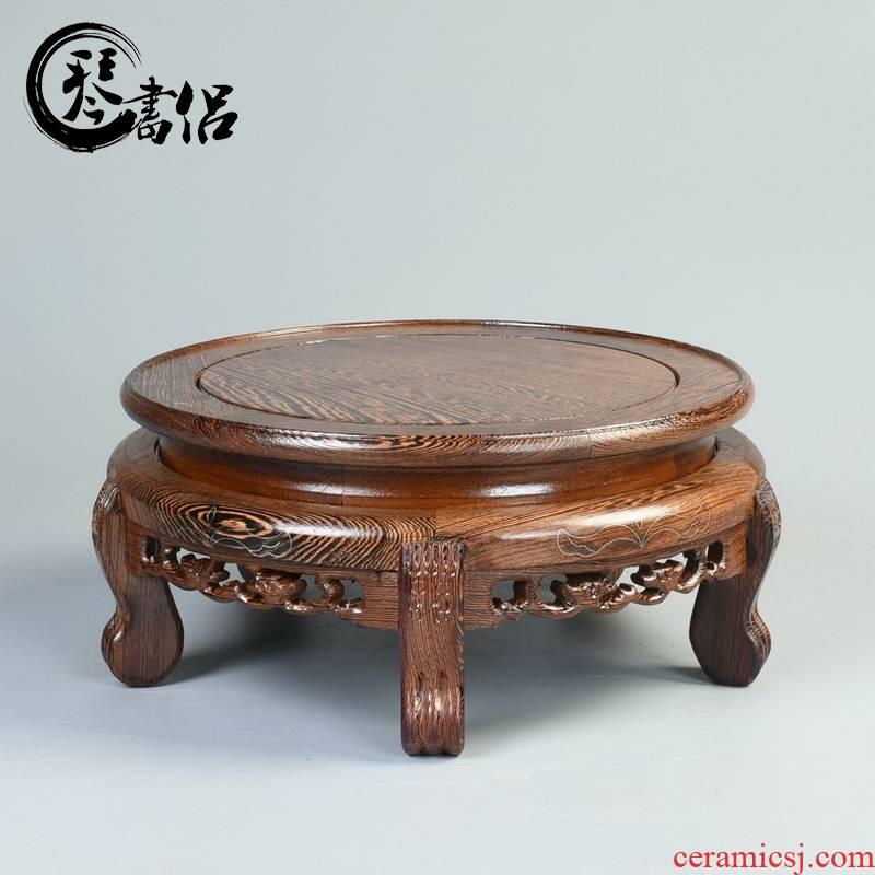Wenge jars base vase base rounded miniascape of Buddha base solid wood handicraft furnishing articles tank base