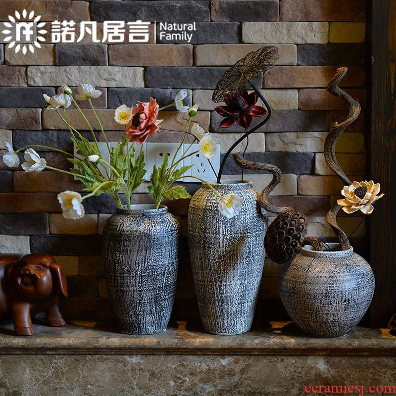 Ceramic vase mesa modern hotel villa living room place the dried flower arranging club coarse pottery decoration decoration decoration