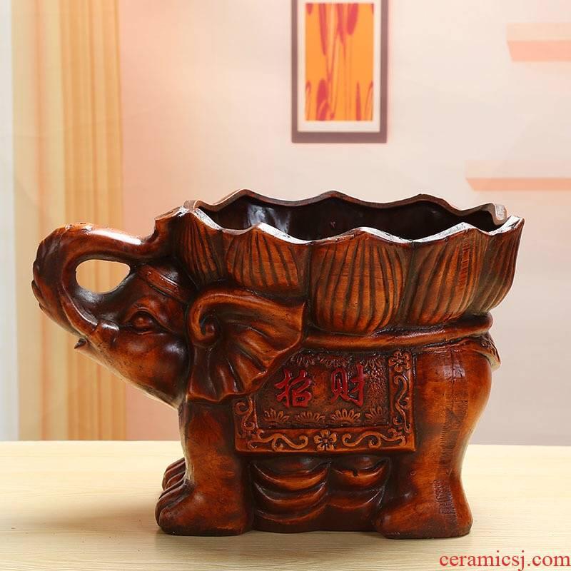 European rich tree king auspicious ceramic flower pot lucky elephant ceramic flower POTS and restoring ancient ways banyan green plant pot