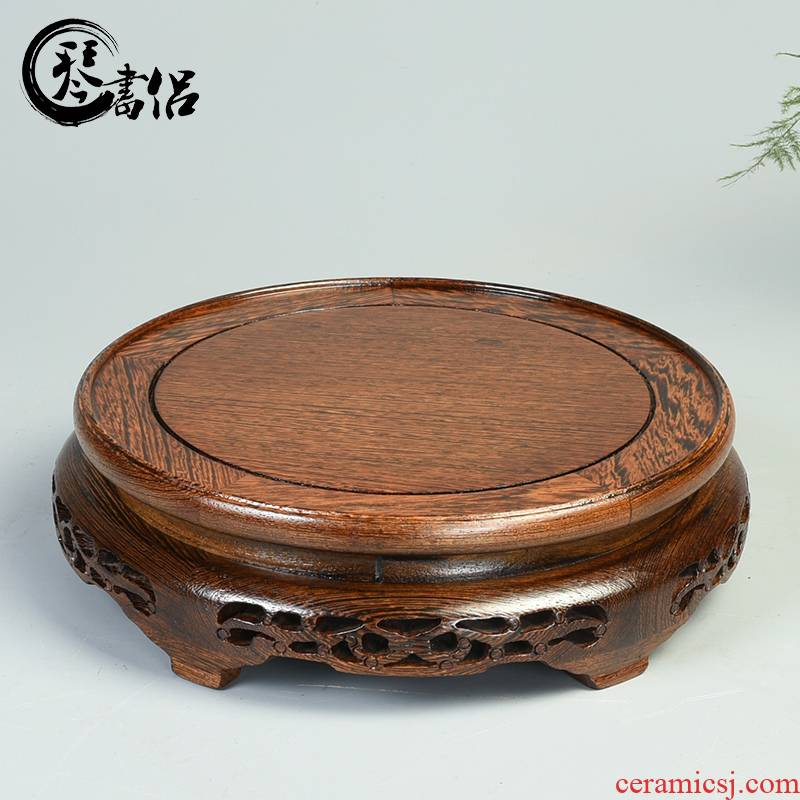 Circular wooden vase base ceramic pot pot of Buddha rock solid wood furnishing articles mahogany base tank