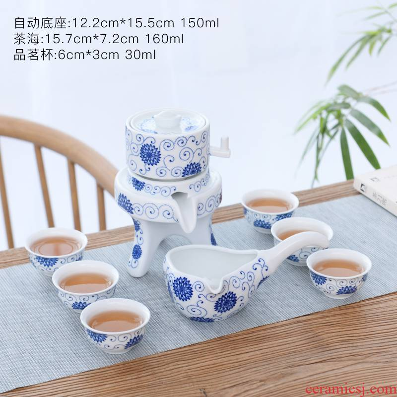 Coarse ceramic tea set home stone mill creative ceramic teapot kung fu tea cup half full automatic lazy people