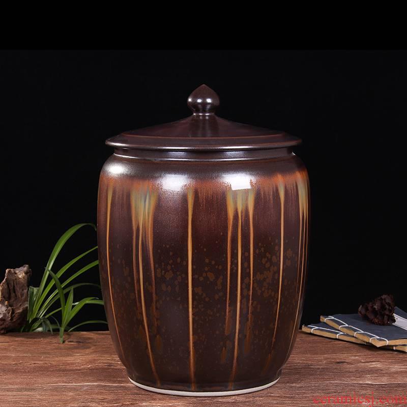 Art spirit of jingdezhen ceramic barrel ricer box store meter box 20 jins 30 jins with cover tank cylinder storage tank
