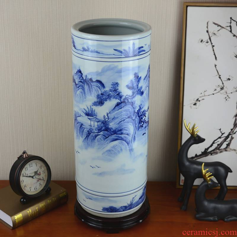 Jingdezhen blue and white porcelain vase hand - made ceramics painting and calligraphy cylinder archaize sitting room study home furnishing articles