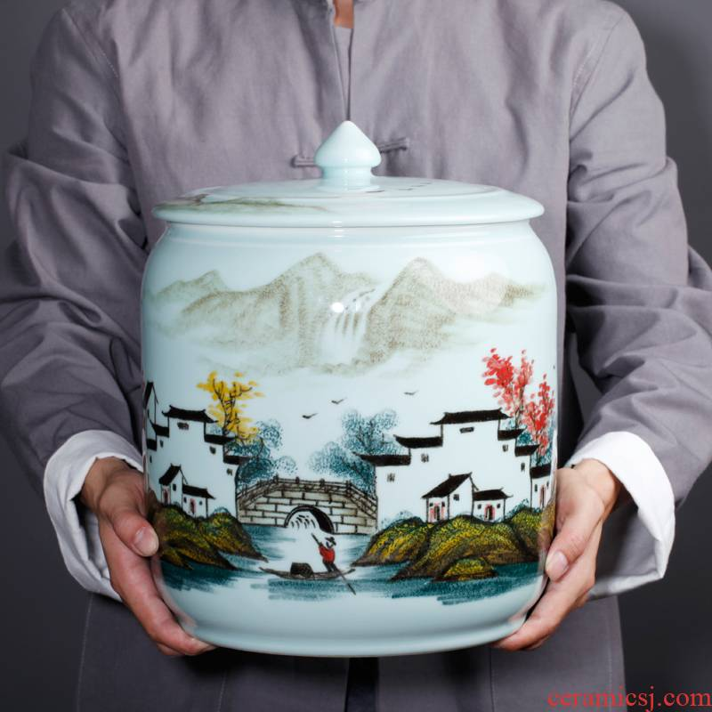 Jingdezhen ceramic new Chinese hand - made village family vase TV ark place porcelain home decoration