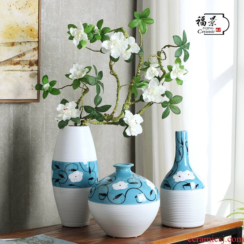 Ceramic vase three - piece furnishing articles I and contracted sitting room TV cabinet table home decoration decoration is a wedding gift