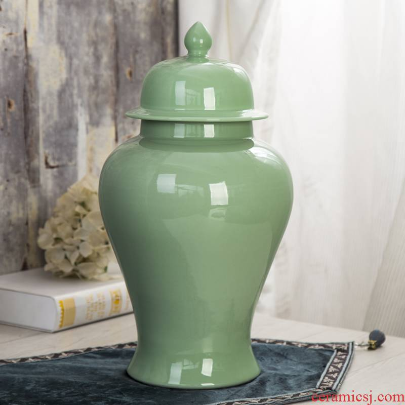 Jingdezhen ceramics general celadon pot vase example room sitting room of the new Chinese style household soft adornment is placed