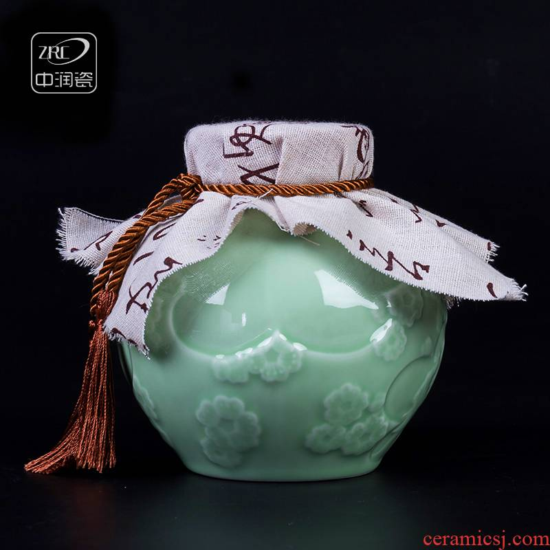 2 jins bottle apricot flowers carved jars of jingdezhen ceramics hip household archaize 2 jins bottle mailed a package
