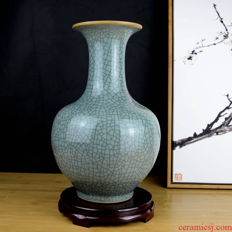 Chinese style restoring ancient ways of jingdezhen ceramics green glaze vase sitting room porch rich ancient frame home decoration handicraft furnishing articles