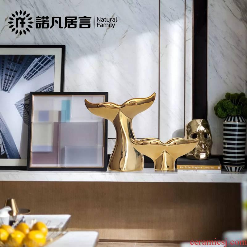 Ceramic handicraft furnishing articles sitting room TV ark hotel villa wine European - style decorative decoration whale 's tail
