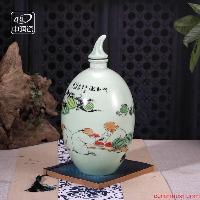 Jingdezhen ceramic jars informs the archaize creative watermelon wine pot liquor bottle empty bottle to pack mail 3 kg