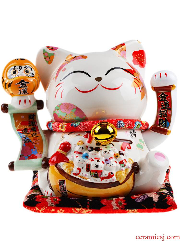 Stone workshop Japanese plutus cat furnishing articles large ceramic electric wave wave cat cat shops the opened the gift