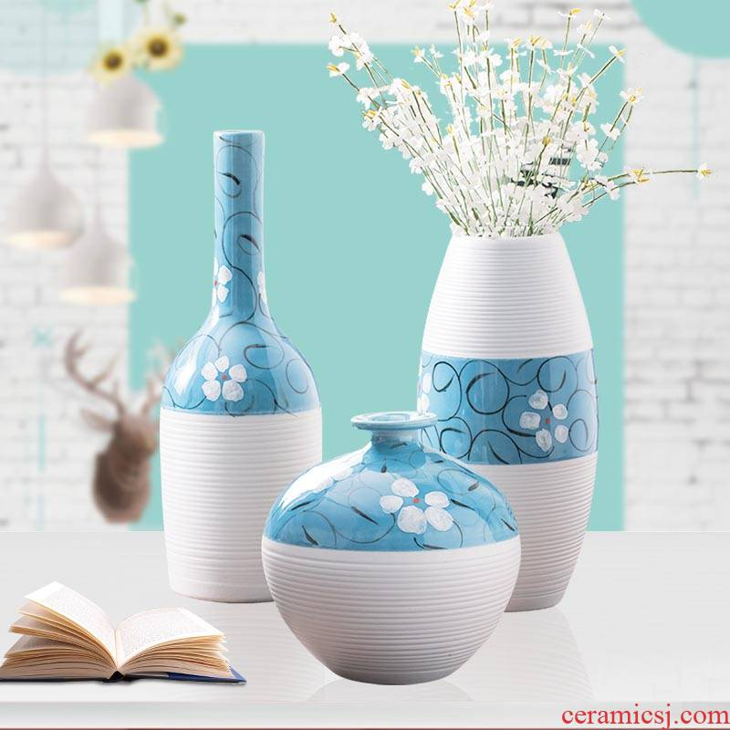 Creative household ceramics of large vase three - piece little pure and fresh and simple but elegant wine cabinet room sitting room adornment is placed