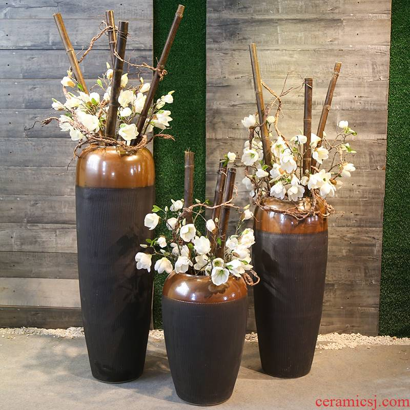 Coarse pottery restoring ancient ways of large POTS of jingdezhen ceramic vase sitting room flower arranging place of new Chinese style simple decorations