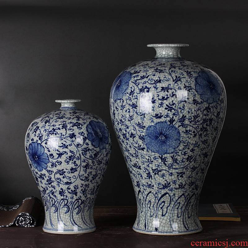 Mesa of jingdezhen blue and white hand draw archaize crack glaze ceramics large porcelain vase sitting room home furnishing articles