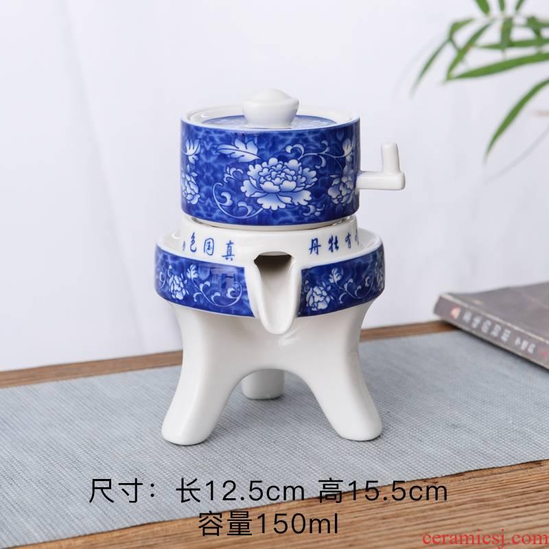 Coarse ceramic tea set home stone mill creative ceramic teapot kung fu tea cup half full automatic lazy people
