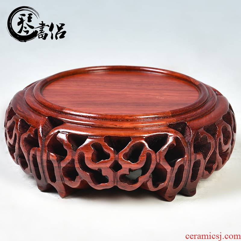 Pianology picking are it base solid wood round antique antique vase base wooden antique Chinese style furnishing articles