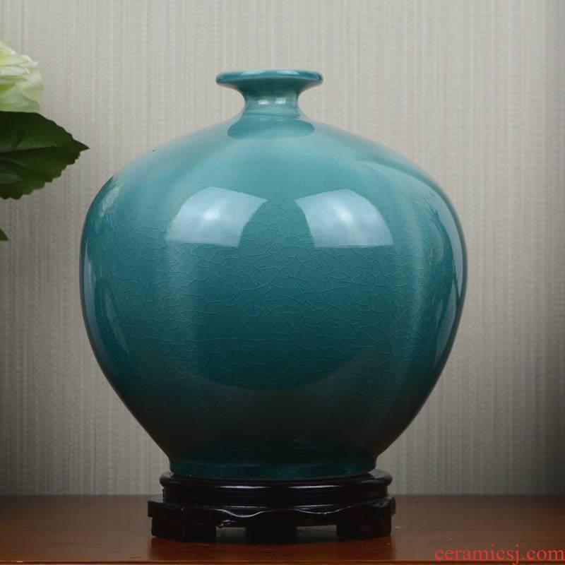 Jingdezhen ceramic vase blue creative ice crack European example room sitting room flower arranging household soft adornment is placed