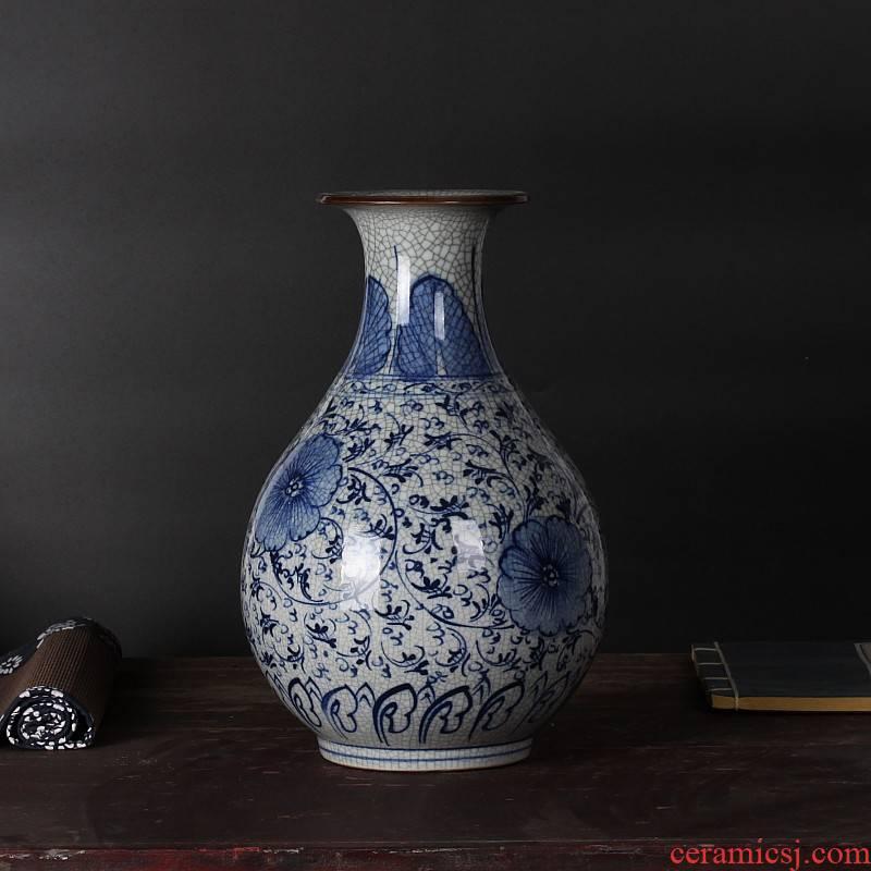 Jingdezhen ceramics hand - made cracks under glaze color porcelain glaze antique up vases, antique furnishing articles okho spring bottle