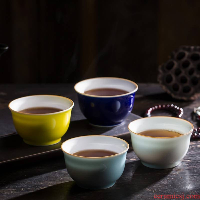 Jingdezhen ji blue master cup of Jingdezhen ceramic cups manual hand big double - sided glaze cup