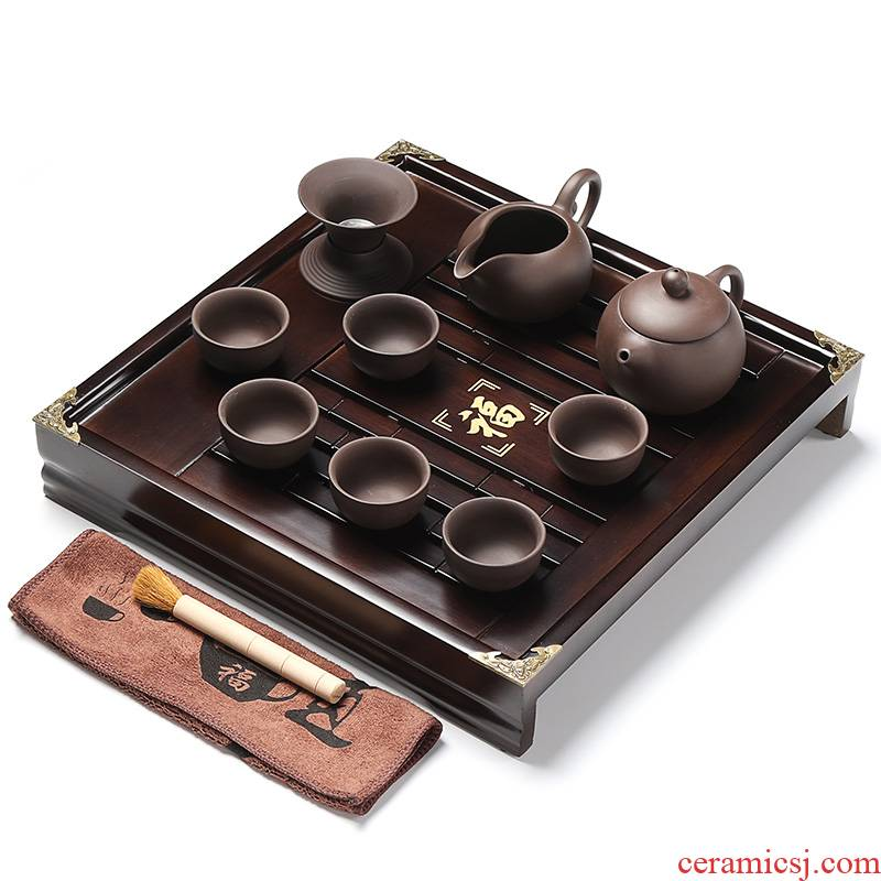 Xin arts solid wood edge square small wooden tea tray saucer kung fu tea sets purple sand your up of a complete set of tea service