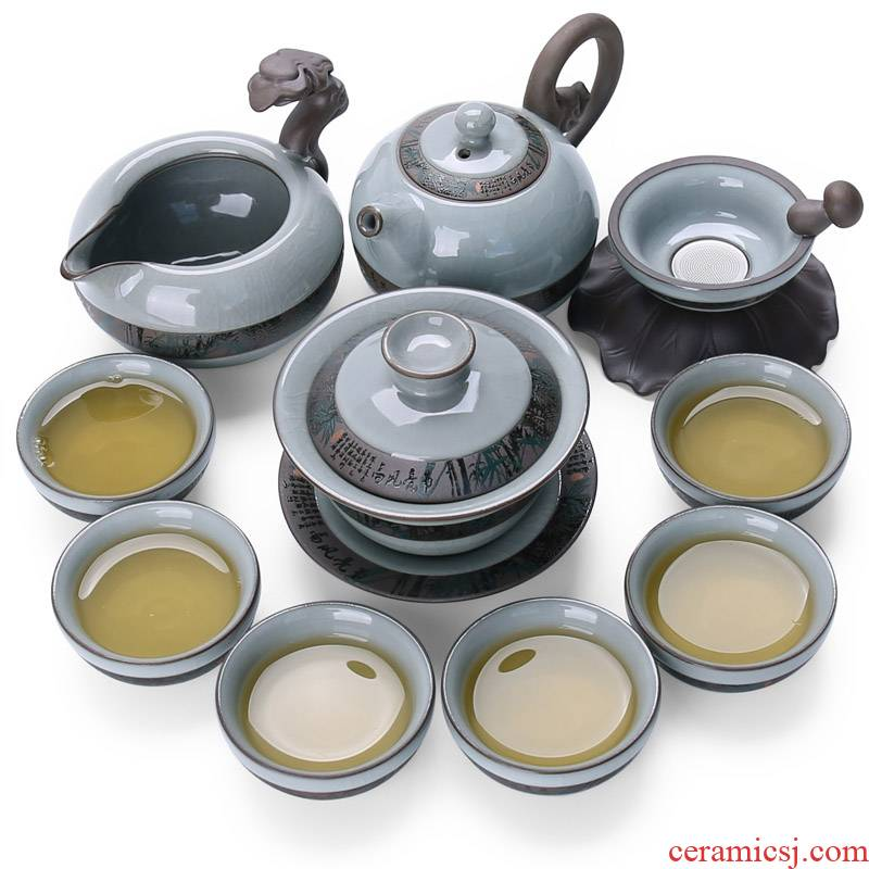 Open the slice is home elder brother up of a complete set of kung fu tea set 11 ceramic your up head make tea tureen gift boxes