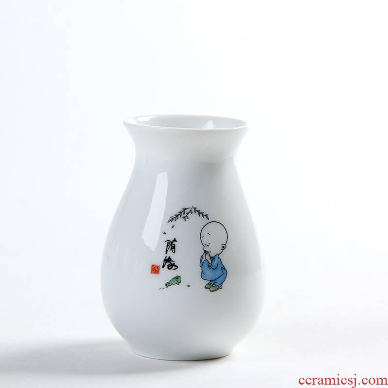Hydroponic grass cooper water raise money plant vase lucky bamboo ceramic POTS dry flower vases, flower arranging white zen furnishing articles