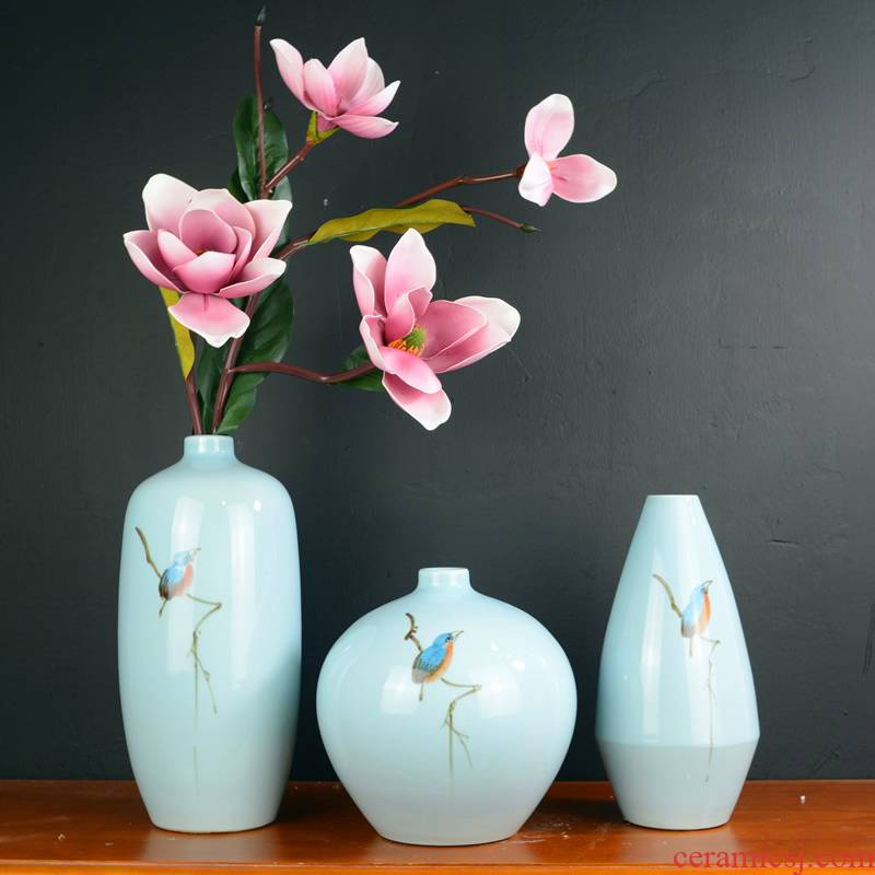 Jingdezhen ceramic new Chinese vase furnishing articles sitting room dry flower arranging flowers household soft adornment green China arts and crafts