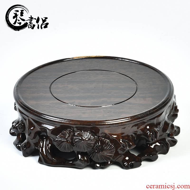Ebony woodcarvings tea base round solid wood vase base jade stone base wooden flower miniascape are it