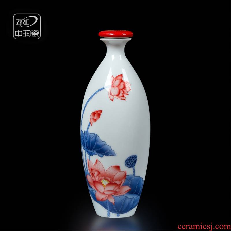 Jingdezhen ceramic bottle 1 catty home antique white wine bottle is empty wine bottle wine mercifully a pot lotus small jars