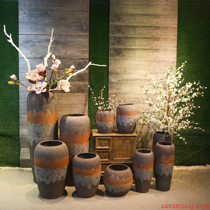 Jingdezhen coarse pottery vase retro nostalgia of large industrial contracted wind mesa simulation flower ceramic flower receptacle