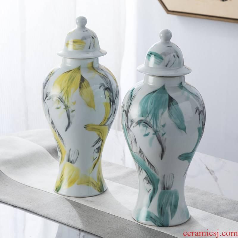 Jingdezhen ceramic new Chinese vase general tank storage tank furnishing articles American sitting room household soft adornment arranging flowers